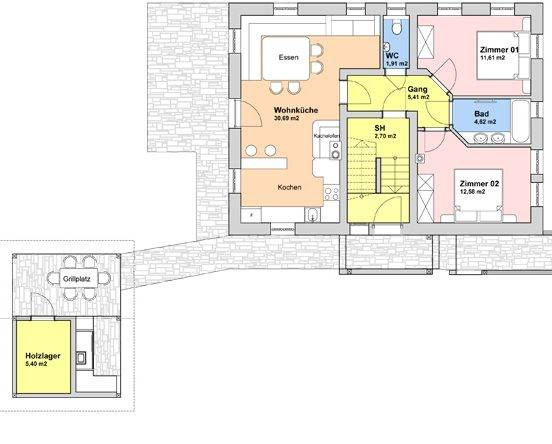 Grundriss Erdgeschoss (63 m²)