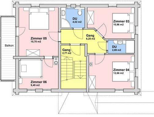 Grundriss Obergeschoß (73 m²)